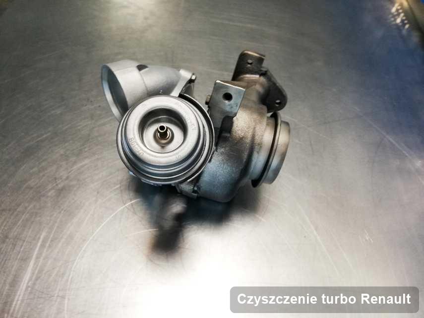 Turbosprężarka do auta osobowego sygnowane logiem Renault zregenerowana w firmie gdzie przeprowadza się  usługę Czyszczenie turbo
