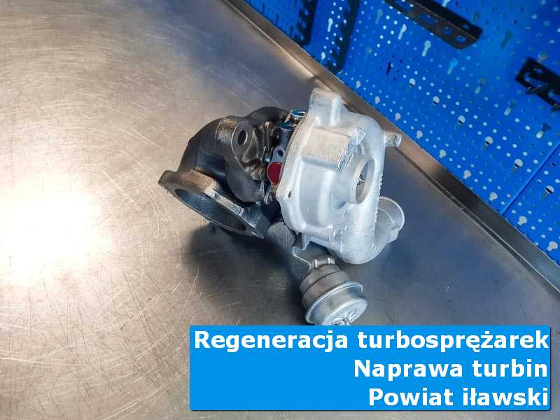 Turbina przed demontażem na stole w laboratorium, powiat iławski