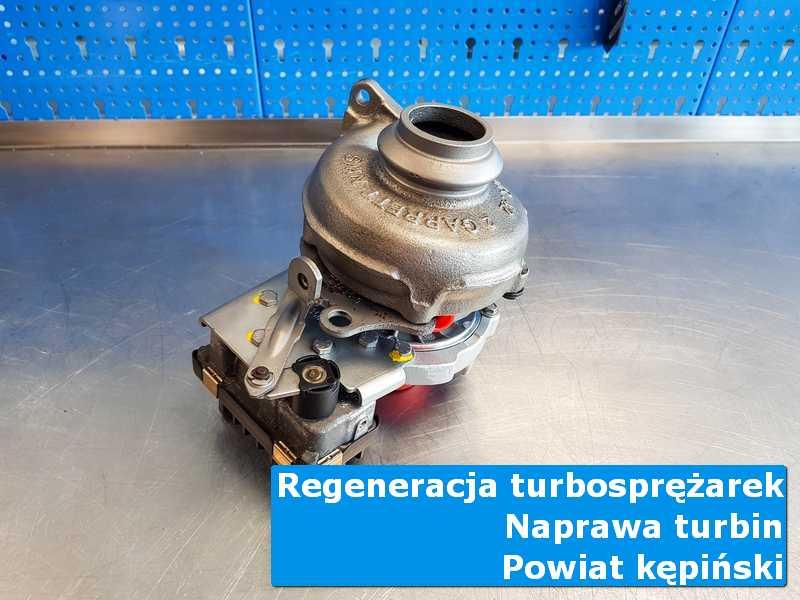 Turbosprężarka po przywróceniu sprawności na stole pracowniczym, powiat kępiński