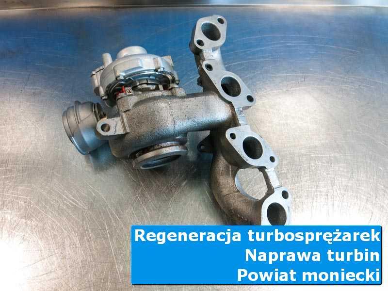 Turbosprężarka po regeneracji na stole w laboratorium, powiat moniecki