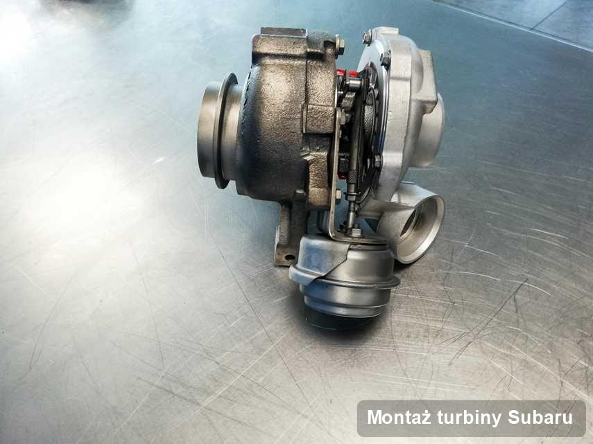 Turbosprężarka do diesla sygnowane logiem Subaru wyremontowana w pracowni gdzie przeprowadza się  serwis Montaż turbiny