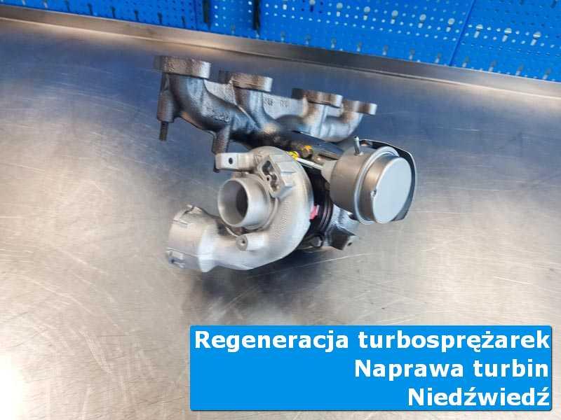 Układ turbodoładowania po wyważaniu na stole w laboratorium w Niedźwiedziu
