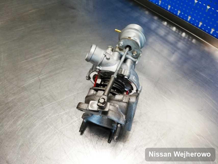 Zregenerowana w firmie w Wejherowie turbosprężarka do samochodu firmy Nissan przygotowana w warsztacie wyremontowana przed spakowaniem