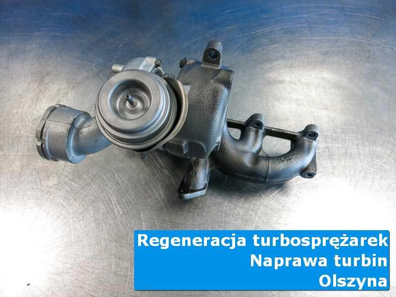 Układ turbodoładowania przed demontażem w nowoczesnej pracowni z Olszyny