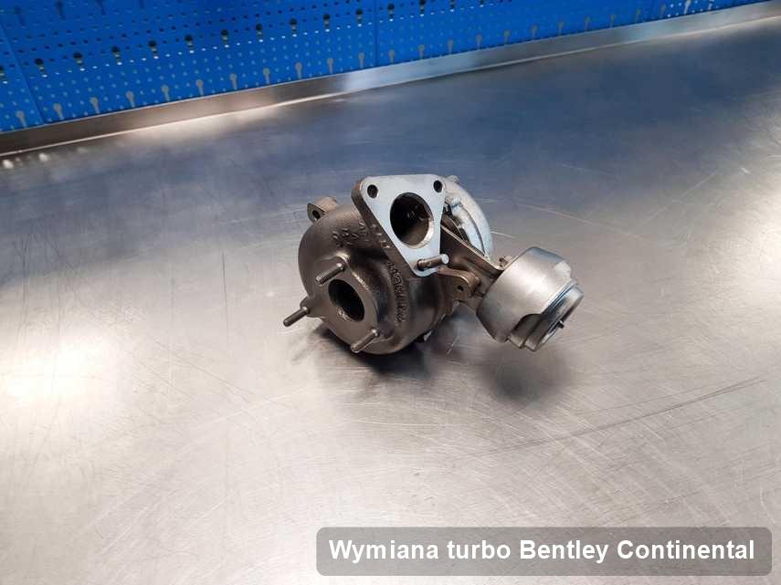 Turbosprężarka do samochodu sygnowane logiem Bentley Continental wyremontowana w laboratorium gdzie realizuje się serwis Wymiana turbo