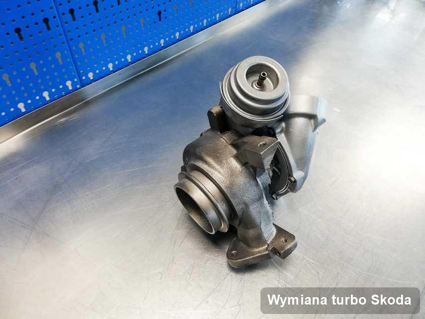 Turbina do samochodu osobowego marki Skoda naprawiona w laboratorium gdzie realizuje się usługę Wymiana turbo