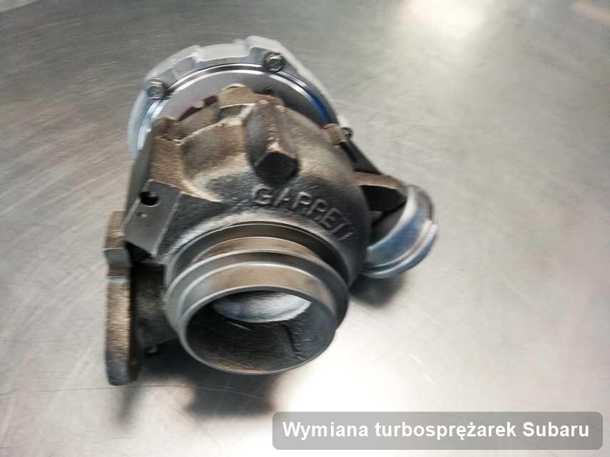 Turbosprężarka do samochodu osobowego sygnowane logiem Subaru wyremontowana w firmie gdzie wykonuje się usługę Wymiana turbosprężarek