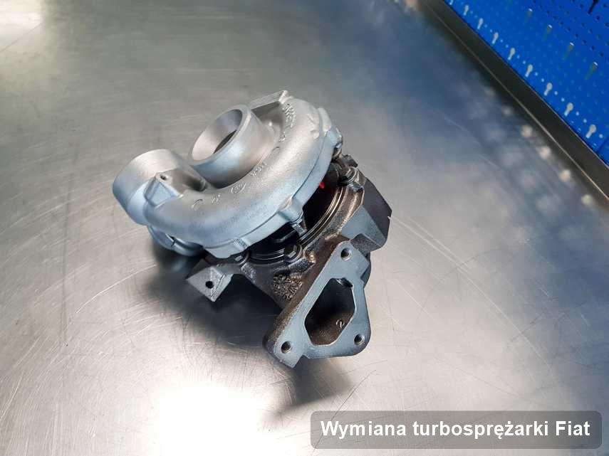 Turbosprężarka do pojazdu marki Fiat naprawiona w laboratorium gdzie wykonuje się usługę Wymiana turbosprężarki