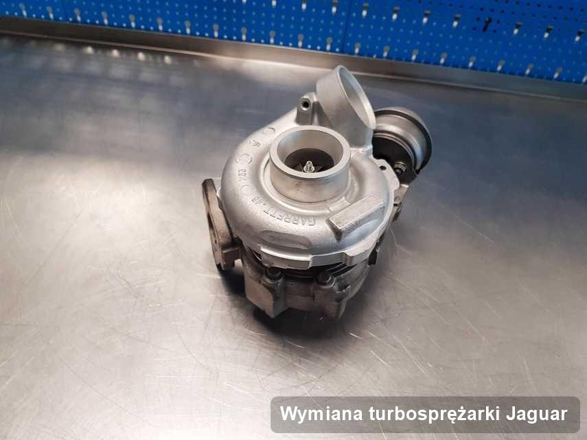 Turbina do auta osobowego sygnowane logiem Jaguar zregenerowana w laboratorium gdzie wykonuje się usługę Wymiana turbosprężarki